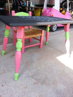 Refinished table and chair (used chalkboard paint for the table) Birthday gift for 2 year old