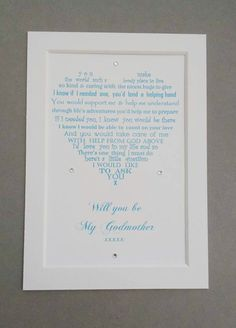 Will you be my Godmother  Godmother by UniqueWordsJersey on Etsy