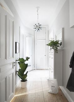 Beautiful white hallway with plants White Hallway, Entry Hallway, Liatorp, Corridor Design, Sweet Home, Interior Decorating, Interior Design, Home And Deco, Scandinavian Home