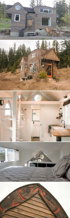 A 280 sq.ft. tiny house with beautiful carvings and Aboriginal art. The salmon-shaped roof rafters and dormers give the roof a distinctive design.