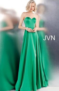 JVN Prom by Jovani Emerald Strapless Sweetheart Neck Satin Prom Dress Prom Dresses Jovani, Prom Dresses Online, Strapless Dress Formal, Pageant Gowns, Satin Gown, Satin Dresses, Long Evening Gowns, Evening Party, Long Gowns