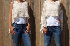 Knitting PATTERN- Open Shoulder Cropped Sweater/Handknit Kimono Sleeve Top, Convertible See-through Cover-Up, One Knit Two Looks Crop Top Sweater, Long Sleeve Sweater, Summer Knitting, Hand Knitting, Knitting Designs, Knitting Patterns, Kimono Pattern Free, Top Boho, Kimono Fashion