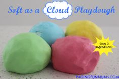 'Soft as a Cloud' Playdough…using only 2 ingredients!  Conditioner and cornstarch.  I didn't have a lot of cornstarch,  so I made a little batch.  It is AWESOME.  Then I made a bigger batch with some tapioca flour I had around.  It's not as good for molding, but it's really stiff while you play with it, then goes gooey if you leave it alone.  Fun stuff!
