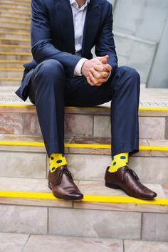 Spot Sock yellow & blue perfect for Spring Racing carnival, to brighten up corporate work wear or weekend casuals. Check out the latest sock range, patterns and colours at online men's fashion shop www.rockmysocks.com | Raddest Looks On The Internet: http://www.raddestlooks.net street
