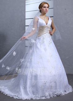 Wedding Dresses - $228.99 - Ball-Gown V-neck Chapel Train Satin Lace Wedding Dress With Sash Beadwork (002000546) http://jjshouse.com/Ball-Gown-V-Neck-Chapel-Train-Satin-Lace-Wedding-Dress-With-Sash-Beadwork-002000546-g546