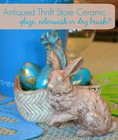 How to antique ceramic. You just found a cute ceramic at a thrift store. Should you glaze, do a wash or dry brush it?