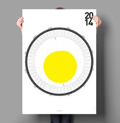 The Circular Calendar is designed by German designer, Sören Lachnit, and features a yellow form in the middle of the calendar that represents the possible sun hours fifty degrees north of the equator.