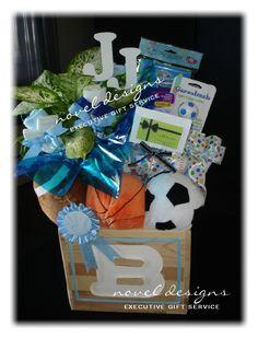 #Baby #Boy #GiftBaskets #LasVegas Custom Sports Theme Baby Gift Basket. Contact noveldesignsllc.com to order yours!