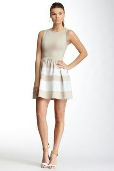 ae2f2a8c62b Teacup dress Love...Ady striped lower teacup dress in taupe-ivory.