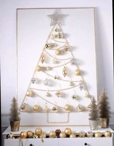 DIY Christmas Wall Decor Ideas for 2019 that spells out the Christmas joy in the most appropriate way - Saudos Christmas Stairs Decorations, Wall Christmas Tree, Best Christmas Lights, Noel Christmas, Modern Christmas, Christmas Ornaments, White Christmas, Silver Ornaments, Elegant Christmas