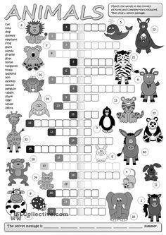 Animals - crossword worksheet - Free ESL printable worksheets made by teachers Animal Worksheets, Animal Activities, Vocabulary Activities, Preschool Worksheets, Printable Worksheets, English Lessons, Learn English, French Lessons, English Class