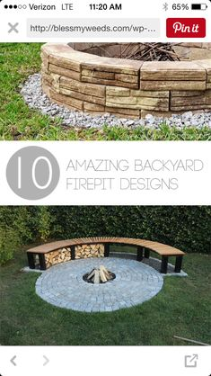 10 Amazing Backyard Firepit Designs  Great Ideas For Stone Firepits, DIY  Firepit Designs, Tutorials And More. **Rounded Seating In Walkout