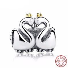 Swan Couples Embrace Charm Bead for Pandora Bracelet   Keren-Center watches & jewelry