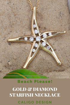 Gold & Diamond Starfish Necklace - Starfish Jewelry by Caligo Design - Nature Inspired Jewelry - #starfishPendant #starfishNecklace #starfishJewelry #diamondStarfishNecklace #seaStarNecklace #asteroideaJewelry #seaLifeJewelry #oceanLifeNecklace #oceanJewelry #seaLifeNecklace #beachMemories #natureInspiredJewelry #14KgoldStarfish #14KdiamondStarfishNecklace #goldStarfishPendant #beachNecklace Ocean Jewelry, Nautical Jewelry, Beach Jewelry, Gold Beach, Starfish Necklace, Star Pendant, Beach Bum, Nature Inspired, Diamond Jewelry