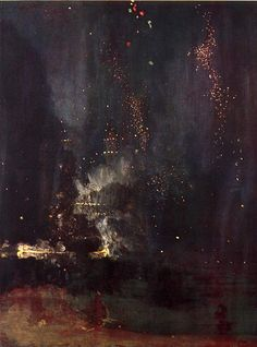 James Whistler, Nocturne in Gold. Portraying a fireworks display over the Thames