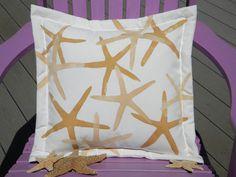 "Starfish pillow gold finger star seastar 20""x20"" painted coastal beach cottage shell shelling seashore marine nautical seashell echinoderm"