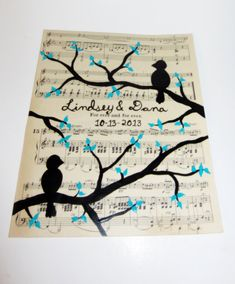 pick your color 8x10 Original hand painted birds on tree branch sheet music art love birds