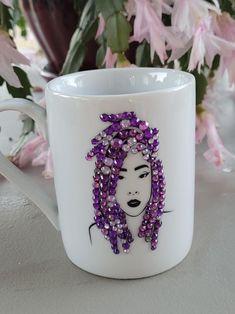 Personalized Bling Mugs | Etsy Wedding Glasses, Personalized Wine, Glass Photo, Wine Glass, Bling, Ceramics, Pearls, Mugs, Tableware