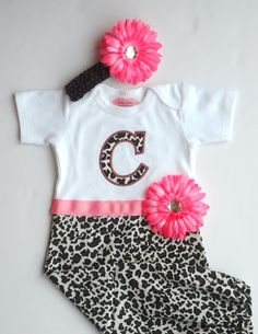 Monogram Baby Girl  Clothes Cheetah Baby Layette Gown by LilMamas, $43.00
