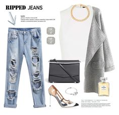 """Ripped Jeans"" by rever-de-paris ❤ liked on Polyvore featuring Topshop, Balenciaga, Eddie Borgo, Whistles, Malcolm Betts, Chanel, Alessandra Rich, rippedjeans and polyvoreeditorial"