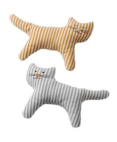 IKEA LEKA Rattle Cat Low sound level, adapted to sensitive baby ears. Leka Rattle, Cat / 2 Pack - Ikea: Adorable, soft fabric striped cat rattles pack) perfect for infants and toddlers. The sound level of the rattle is soft, and perfect for a baby's sensi Baby Design, Doll Clothes Patterns, Doll Patterns, Fabric Toys, Sewing Toys, Scottie Dog, Soft Dolls, Baby Toys, Sewing Projects