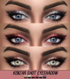 The sims 4 cc — kenzar-sims: shot eyeshadow 6 swatches hope you. Sims 3, Die Sims, Sims 4 Mm Cc, Sims 4 Cas, The Sims 4 Accessories, Los Sims 4 Mods, Sims 4 Cc Eyes, The Sims 4 Skin, Pelo Sims