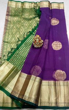 Pure Kanchi Kora sarees with Kanchi borders - Elegant Fashion Wear