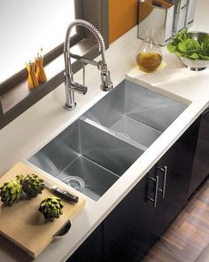 The Houzer Contempo Series Zero-Radius Undermount Double Bowl is beautifully articulates the excitement of contemporary kitchen design. It's exacting looks, sharp angles and clean…More Corner Sink Kitchen, Modern Kitchen Sinks, Steel Kitchen Sink, Double Bowl Kitchen Sink, Modern Farmhouse Kitchens, Kitchen Redo, Kitchen And Bath, New Kitchen, Traditional Kitchen Sinks