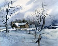 Winter White by Michael Humphries - barbara Watercolor Landscape, Landscape Paintings, Watercolor Paintings, Landscapes, Watercolours, Snow Scenes, Winter Scenes, Winter Painting, Old Barns