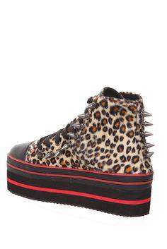 red + leopard platform sneakers