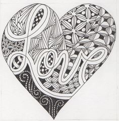 zentangle doodle heart zen coloring pages adult patterns drawings doodles zendoodle zentangles draw easy drawing flickr tangle sept journals tangles