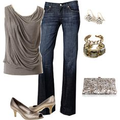 Dress up this outfit for girls night out, or lose the flashy accessories for a casual look