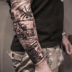 Tattoo Dmitriy Troshin - tattoo's photo In the style Whip Shading, Male, Milita Police Tattoo, War Tattoo, Norse Tattoo, Viking Tattoos, Army Tattoos, Warrior Tattoos, Military Tattoos, Forarm Tattoos, Body Art Tattoos