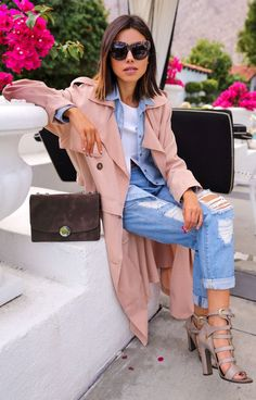 Blush And Denim Spring Outfit by Vivaluxury