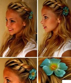 Braided back with a blue flower clip