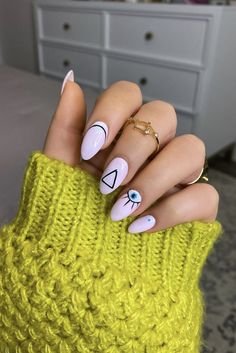 Manicure of the Month: Geometric Pink Evil Eye Nails - Living After Midnite Acrylic Nails, Gel Nails, Nail Polish, Evil Eye Nails, Minimalist Nails, Nail Inspo, Nails Inspiration, Nail Art Designs, Nail Design