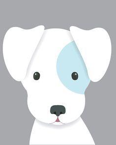 Dog Nursery Art Baby Boy Nursery Art Puppy by SweetLittleBarn