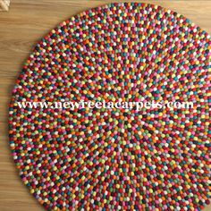 Felt Ball Rug Multicolour , Hand Crafted In Nepal By Nepalese Women. Free Shipping World Wide.