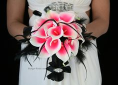 Black and hot pink wedding flowers