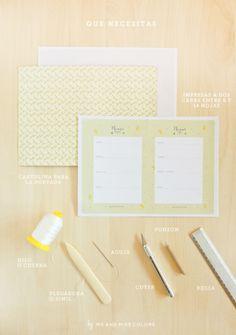 Agenda Imprimible y DIY de como encuadernar una libreta fácil y rápido | | Blog Planner free printable and easy book binding tutorial //