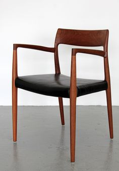 Niels O. Møller; #57 Teak and Leather Armchair for J.L. Møllers Møbelfabrik A/S, 1960s.