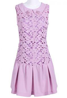 Purple Sleeveless Lace Rhinestone Pleated Dress pictures