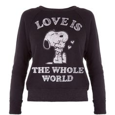 Snoopy Love Top ($200) ❤ liked on Polyvore featuring tops, sweater pullover, raglan top, cotton pullovers, vintage pullover and vintage tops