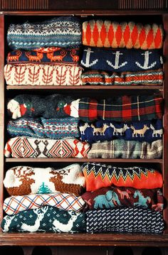 "sweater patterns: animal print, nautical, plaid, ""native"""