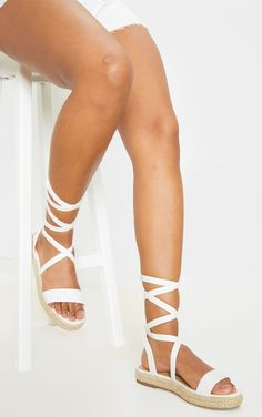 White Lace Up Espadrille Flatform Sandal nKeep your vacay vibe seriously chic this season with these flatform sandals Featuring a white lace up design and an espadrille sole this simple design is perfect for adding to any outfit nLace up Metallic Espadrilles, Black Espadrilles Wedges, Open Toe Espadrilles, Espadrille Sandals, Looks Baskets, Block Heel Ankle Boots, Lace Up Trainers, White Lace, Range