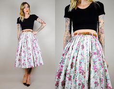 1950's GARDEN FLORAL high waist SKIRT bombshell swing full circle Accordion Pleated xs