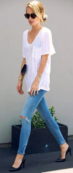 White Basic Tee by Le Fashion
