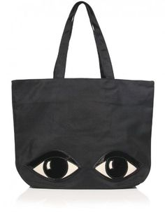 Lulu Guinness Lily Eye Tote Bag OS Black Lily eye tote bag. Heart zip top fastening. Appliqué eyes detail to front. Branded inner pouch. Branded logo to back.