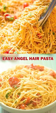 An absolutely scrumptious dish made with just a few simple ingredients. Isn't that what we are looking for when planning our next dinner? This Angel Hair Pasta recipe is going to become your Cheesy Recipes, Easy Pasta Recipes, Easy Healthy Recipes, Easy Dinner Recipes, Mexican Food Recipes, Vegetarian Recipes, Easy Meals, Cooking Recipes, Vegan Vegetarian