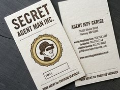Secret Agent Man Letterpress Business Cards... Really creative and funny business card for a creative agent.